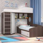 Кровать чердак Кадет-2Я с металлической лестницей
