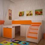 Кровать чердак Малыш Эконом Ярофф дуб-оранж
