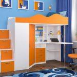 Кровать чердак Пионер-1Я Белое дерево + Оранжевый