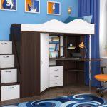 Кровать чердак Пионер-1Я Бодего + Белое дерево
