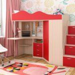 Кровать чердак Пионер-1Я Дуб молочный -Красный
