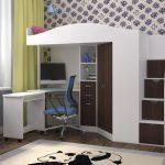 Кровать чердак Юниор-4Я Белое дерево +Бодего темный