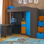 Кровать чердак Юниор-4Я Бодего темный + Голубой + Оранж