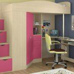 Кровать чердак Юниор-4Я Дуб молочный + Розовый
